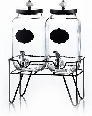Elle Décor Style Setter Manchester S/2 Beverage Dispensers 3.1L with Stand, , large