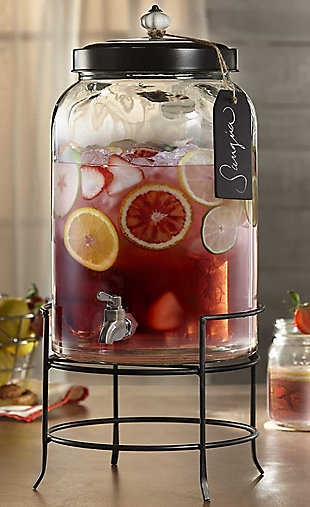Elle Décor Style Setter Franklin Beverage Dispenser 3Gal withTag Stand, , rollover