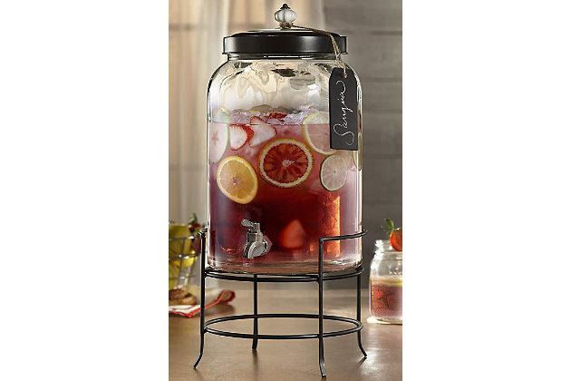 Elle Décor Style Setter Franklin Beverage Dispenser 3Gal withTag Stand, , large