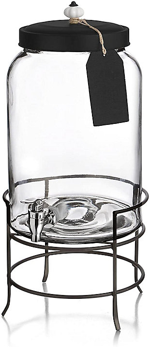 Elle Décor Style Setter Franklin Beverage Dispenser 3Gal withTag Stand, , large