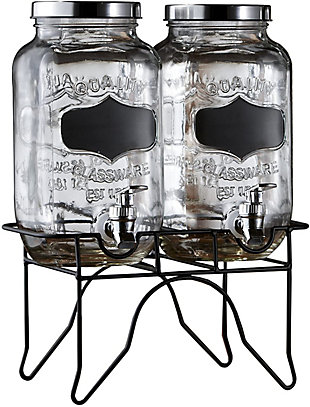 Elle Décor Stylesetter Blackboard 2 Glass Beverage Dispensers, , large