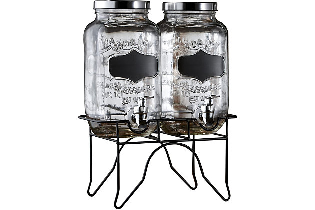 Elle Décor Stylesetter Blackboard 2 Glass Beverage Dispensers, , large