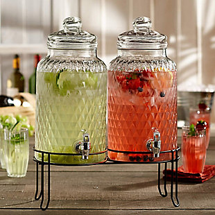 Elle Décor Style Setter Douglas Set/2 Beverage Dispensers with Stand, , rollover