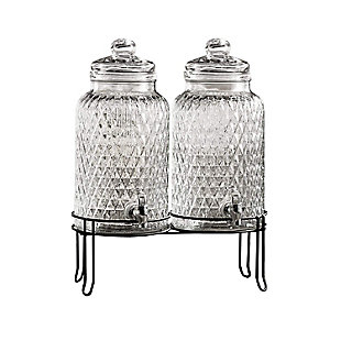 Elle Décor Style Setter Douglas Set/2 Beverage Dispensers with Stand, , large