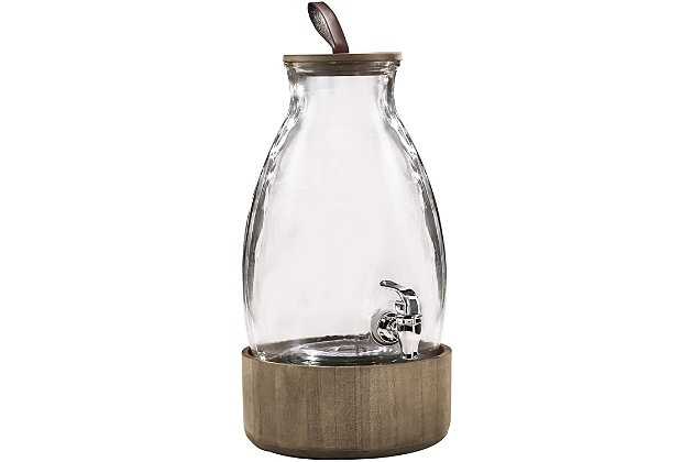 Elle Décor Style Setter Humboldt Beverage Dispenser with Wood Lid, , large