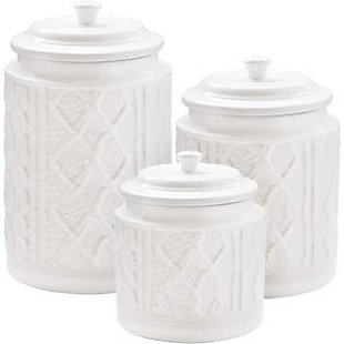 American Atelier Knit Embossed White 3-Piece Canister Set, , rollover