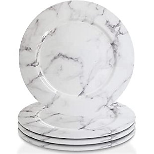 American Atelier Marble Design White/Gray Set of 4 Charger Plate, , large