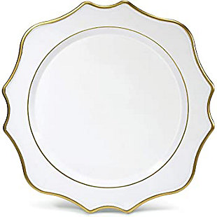 American Atelier Princess White/Gold Set of 4 Charger Plate, , rollover