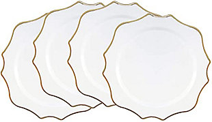 American Atelier Princess White/Gold Set of 4 Charger Plate, , large