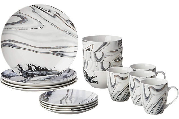 American Atelier Marble Coupe 16-Piece Dinnerware Set, , large