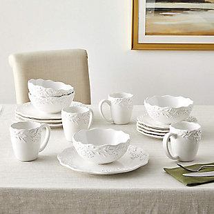 American Atelier Bianca Mistletoe White Stoneware 16-Piece Dinnerware Set, , rollover