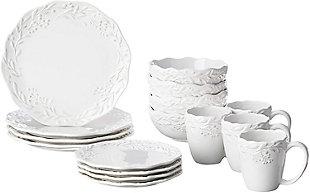 American Atelier Bianca Mistletoe White Stoneware 16-Piece Dinnerware Set, , large