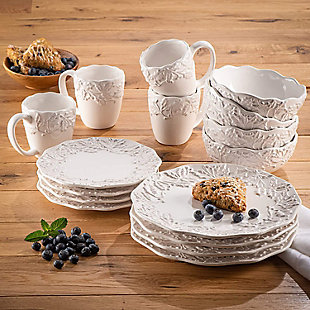 American Atelier Bianca Holly White Stoneware 16-Piece Dinnerware Set, , rollover