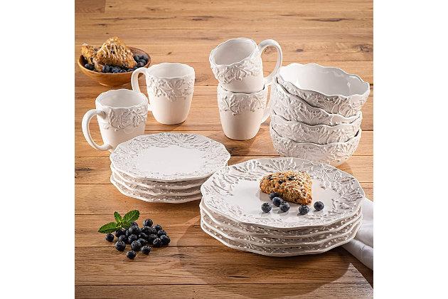 American Atelier Bianca Holly White Stoneware 16-Piece Dinnerware Set, , large