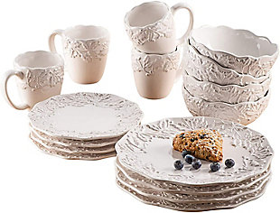 American Atelier Bianca Holly White Stoneware 16-Piece Dinnerware Set, , large