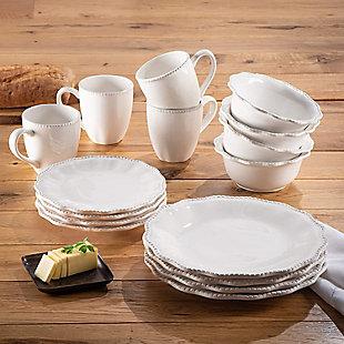 American Atelier White Bianca Scallop Bead Ceramic 16-Piece Dinnerware Set, , rollover