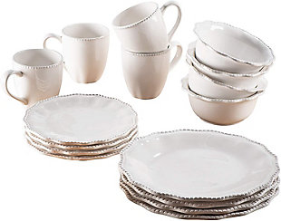 American Atelier White Bianca Scallop Bead Ceramic 16-Piece Dinnerware Set, , large