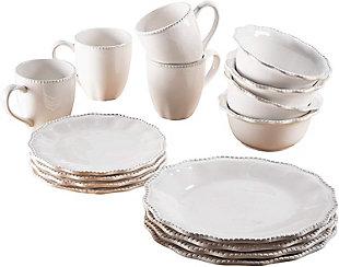 American Atelier White Bianca Scallop Bead Ceramic 16-Piece Dinnerware Set, , large