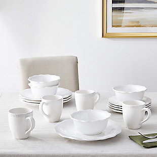 American Atelier White Bianca Scallop Flute Ceramic 16-Piece Dinnerware Set, , large