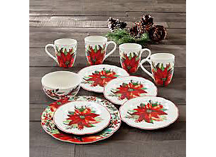 American Atelier Poinsettia Party Round Porcelain 16-Piece Dinnerware Set, Service for 4, , rollover