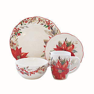 American Atelier Poinsettia Party Round Porcelain 16-Piece Dinnerware Set, Service for 4, , large