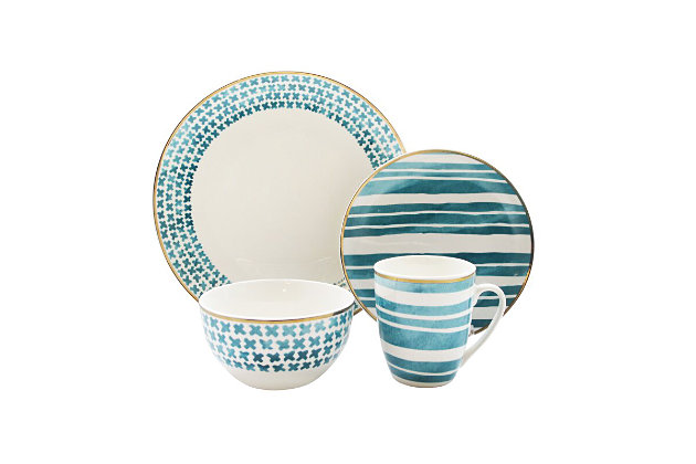 Elle Décor Cherie 16-Piece Dinnerware Set, , large