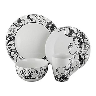 Elle Décor Floral Deco 16-Piece Dinnerware Set, , rollover