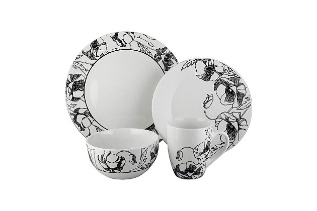 Elle Décor Floral Deco 16-Piece Dinnerware Set, , large