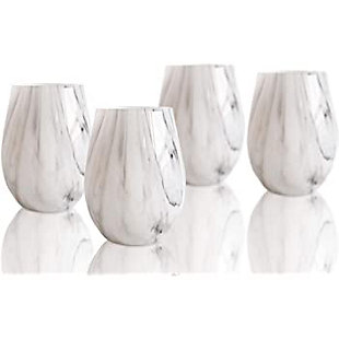 Elle Décor Marble Gray Goblets Set of 4, , rollover