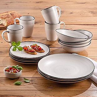Elle Décor Whitestone 16-Piece Dinnerware Set, , rollover
