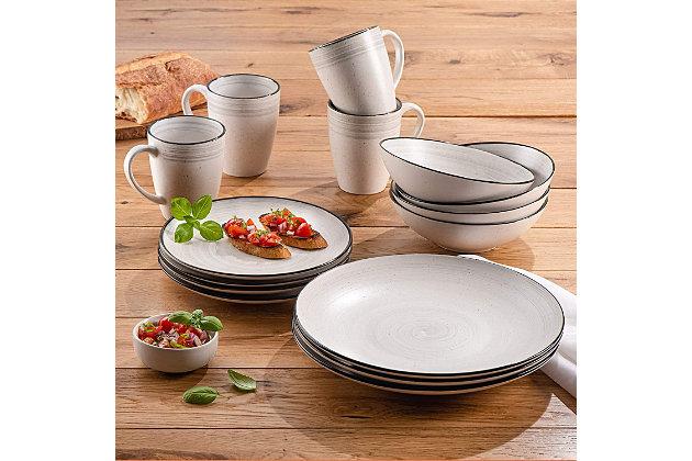 Elle Décor Whitestone 16-Piece Dinnerware Set, , large