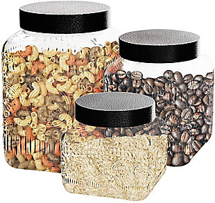 Elle Décor Style Setter Medallion Embossed Set of 3 Canisters, , rollover