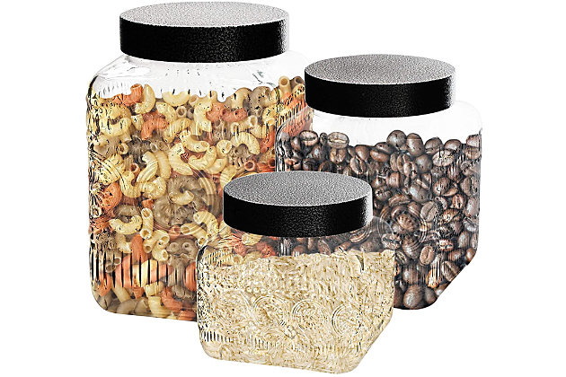 Elle Décor Style Setter Medallion Embossed Set of 3 Canisters, , large