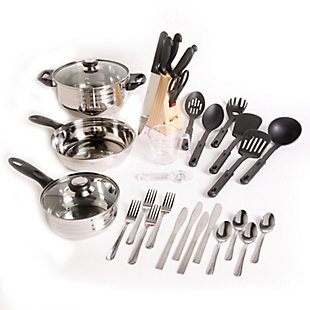 Gibson Home Total Kitchen Lybra 32-Piece Cookware Combo Set, , large