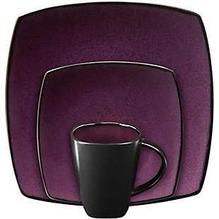 Gibson Home Soho Lounge Square 16-piece dinnerware set Purple, , rollover