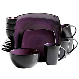 Gibson Home Soho Lounge Square 16-piece dinnerware set Purple, , large