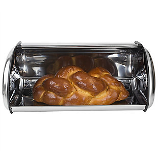 Home Accents Roll-Top Lid Stainless Steel Bread Box, , large