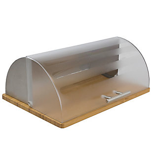 Home Accents Bread Box with Wood Base and Acrylic Lid, , large