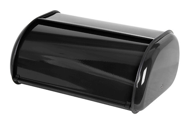 Home Accents Roll Up Lid Steel Bread Box, Black, Black, large