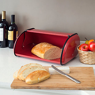 Home Accents Roll -Top Lid Steel Bread Box, Red, Red, rollover