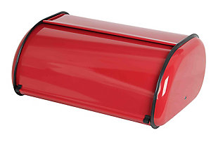 Home Accents Roll -Top Lid Steel Bread Box, Red, Red, large