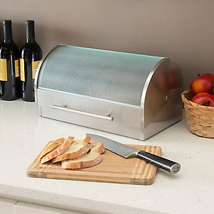 Home Accents Stainless Steel Bread Box, , rollover