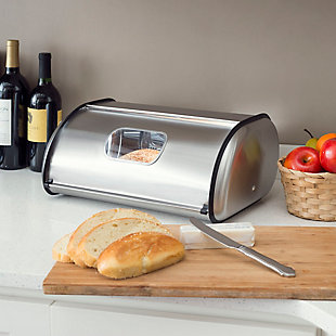 Home Accents Stainless Steel Bread Box, Silver, Silver, rollover