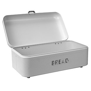 Home Accents Soho Metal Bread Box, White, White, large