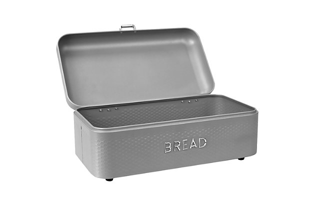 Home Accents Soho Metal Bread Box, Gray, Grey, large