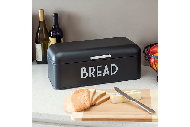 Home Accents Metal Bread Box, Black, Black, large