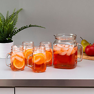 Home Accents 2 lt Glass Pitcher with Set of Four Glass Mugs with 450 ml Capacity, Clear, , rollover