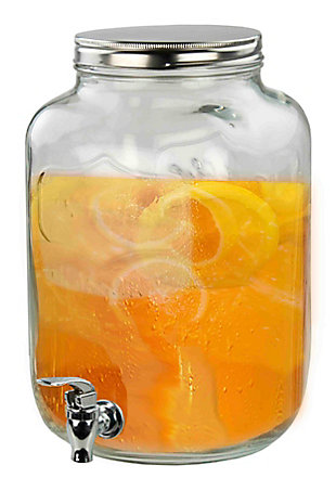 Home Accents 8 Liter Leak-Proof Glass Beverage Dispenser, Clear, , rollover