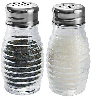 Home Accents Beehive 2 Piece Glass Salt and Pepper Set with Stainless Steel Sifter Tops, , large