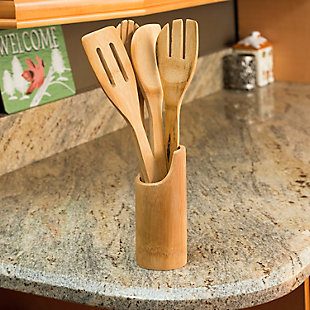 Home Accents 5 Piece Bamboo Utensil Set with Sculptural Holder, Natural, , rollover